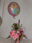 baby girl arrangement with balloon
